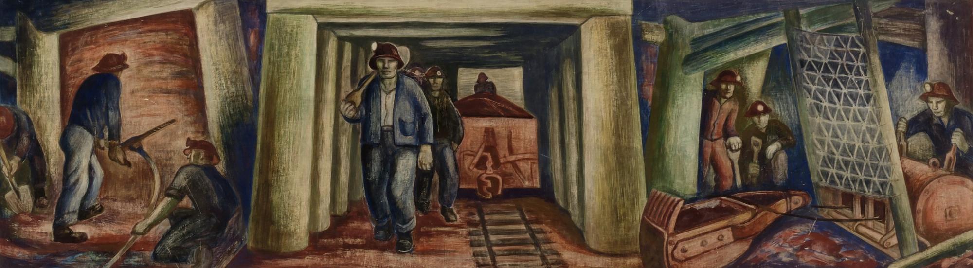 Elsa Jemne,  Iron Ore Mines (Ely, study for mural) , n.d., tempera on illustration board, Smithsonian American Art Museum