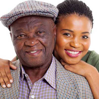 Picture show a grandfather with his granddaughter. She is a gifted student.