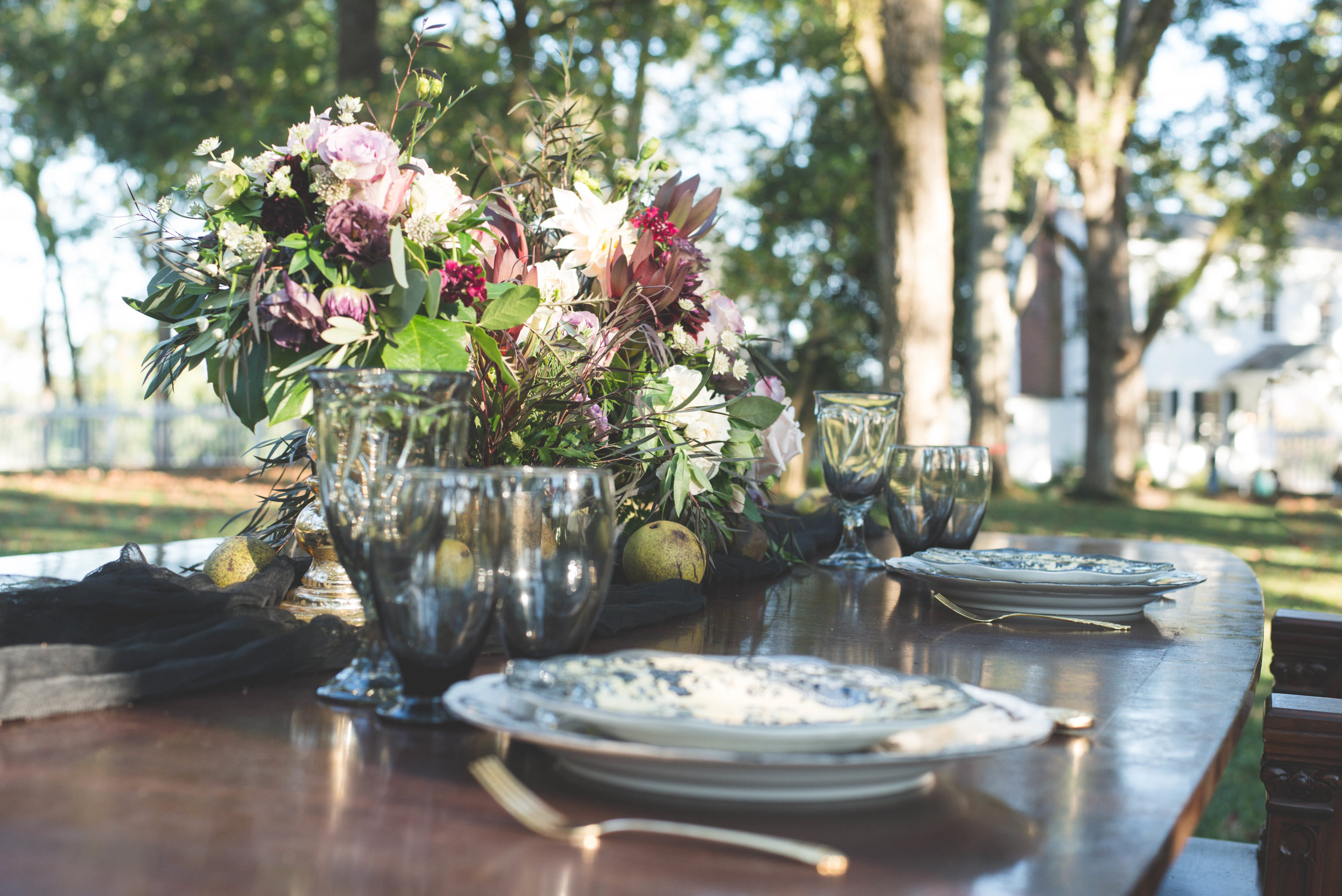 Tablescape for Halloween Inspired Wedding
