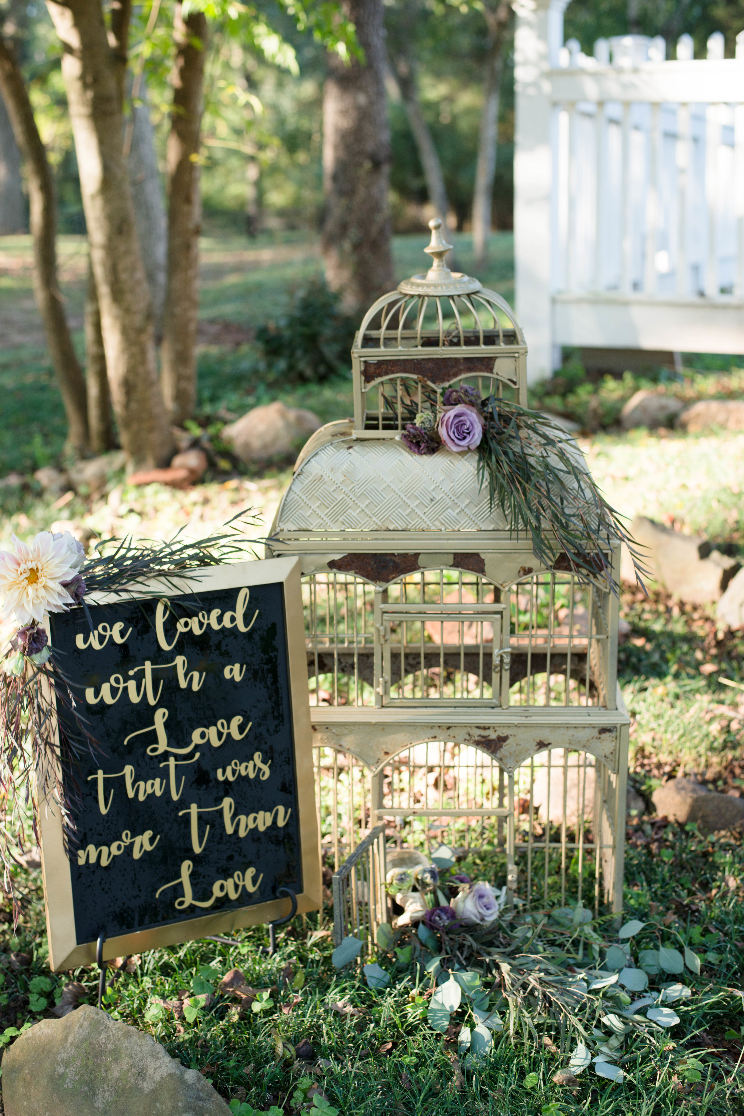 Custom Lettering and Bird Cage for wedding