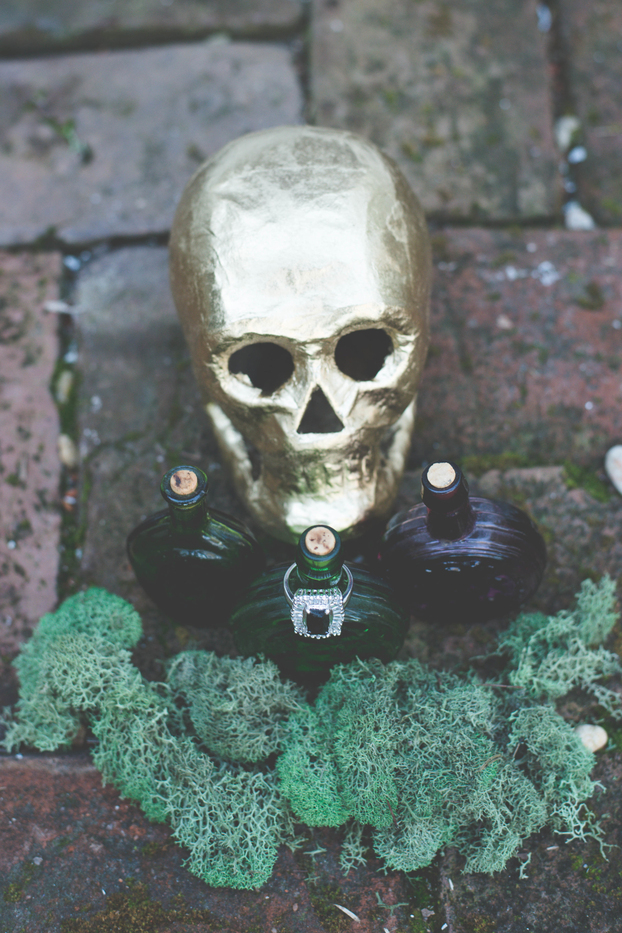 Gold Skull and Black Diamond Ring