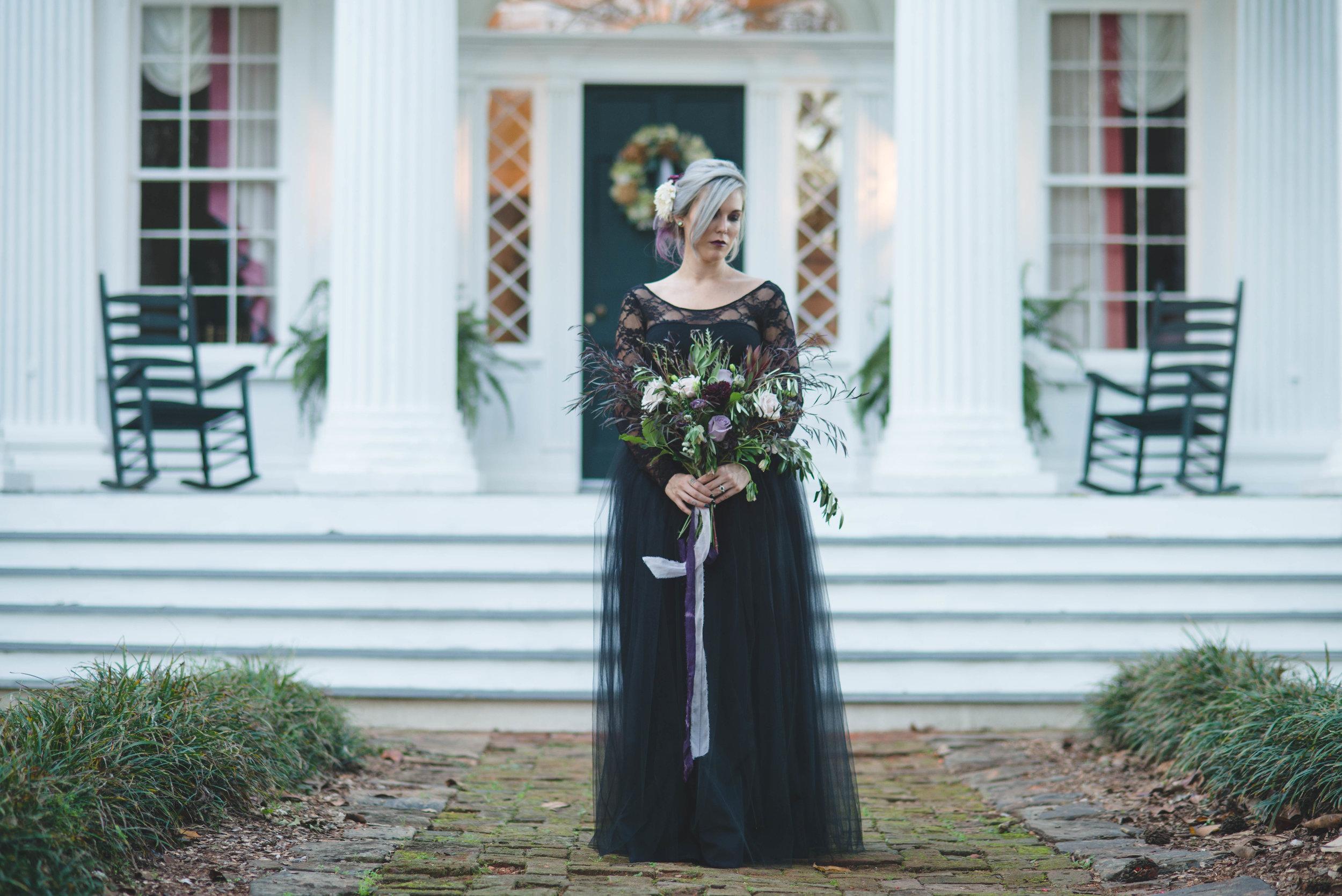 Bridal Portrait in a Black Wedding Gown