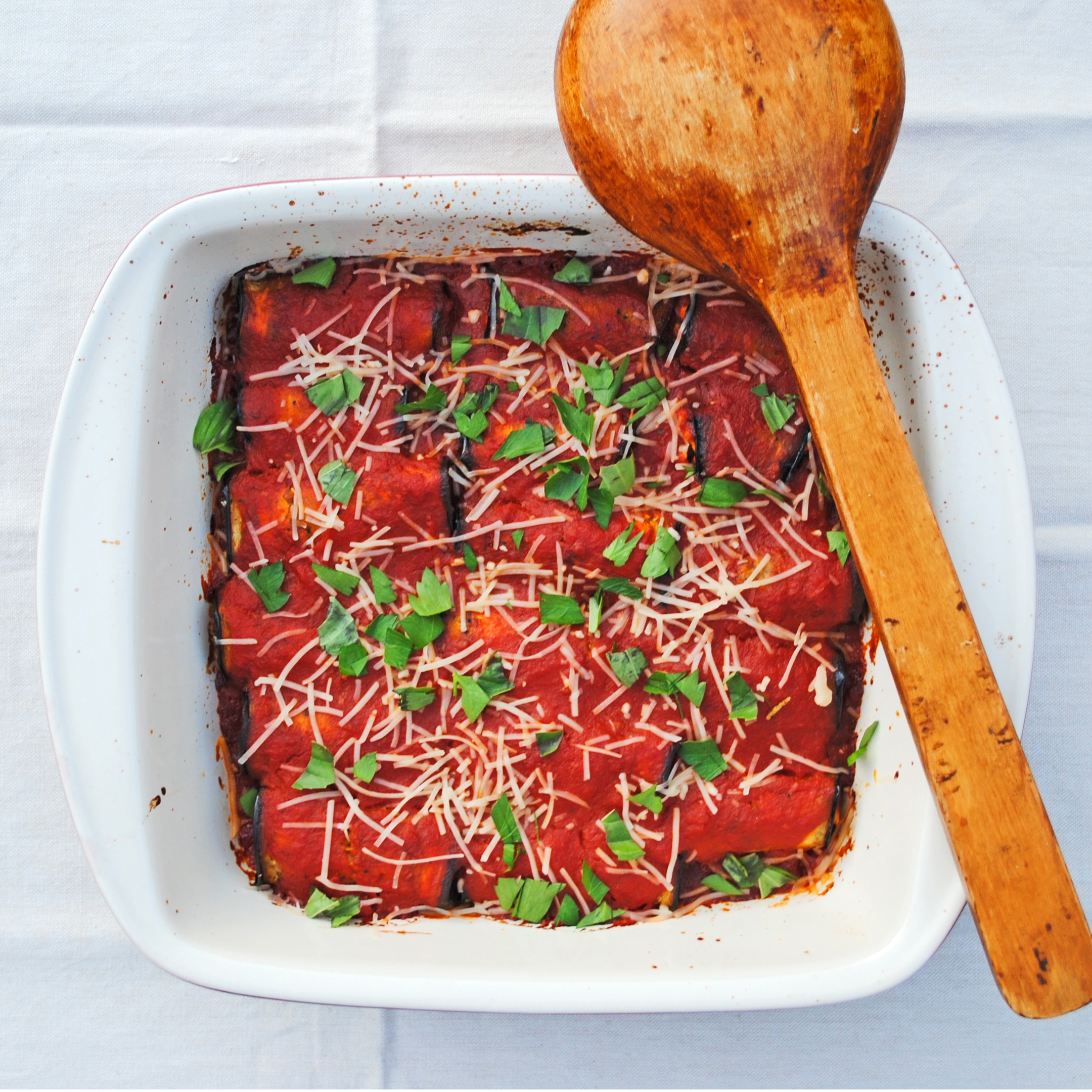 Eggplant Rollatini with Tofu Basil Ricotta