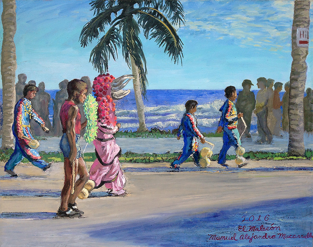 """El Malecón (The Seaside) , 2016. Oil on linen. 30"""" X 38""""."""