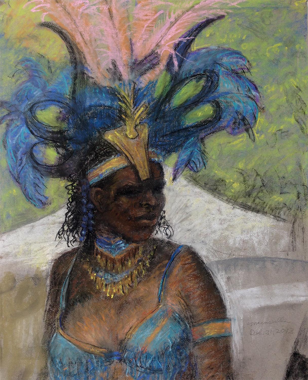 """Blue Woman , 2013; Pastel. 22"""" X 18""""."""
