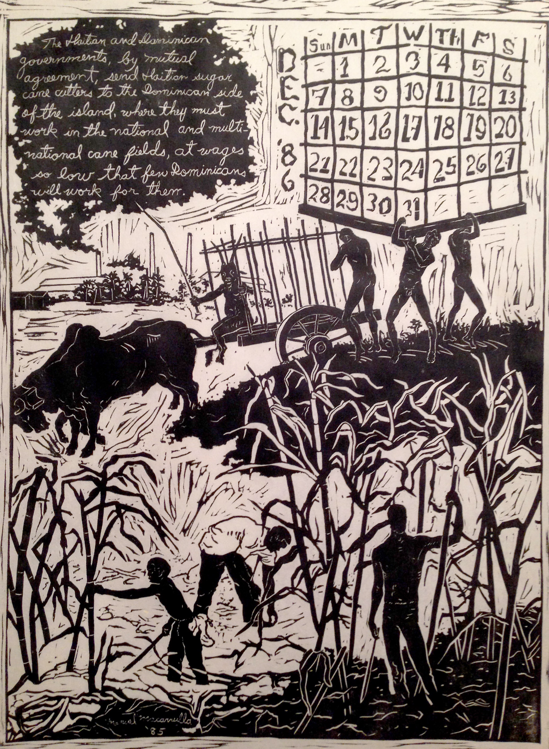 "December '86,  1985. Linoleum cut. 24"" X 18"" The Study Collection, Museum of Modern Art, New York"