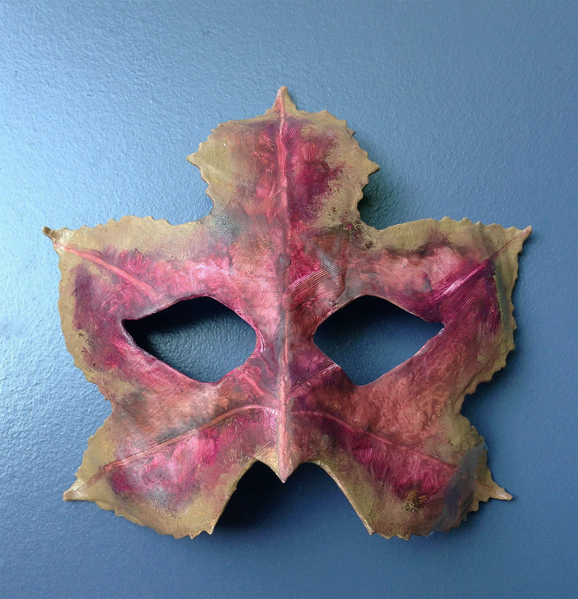 Maple Leaf Mask (2) , 2016. Oil on paper mache.