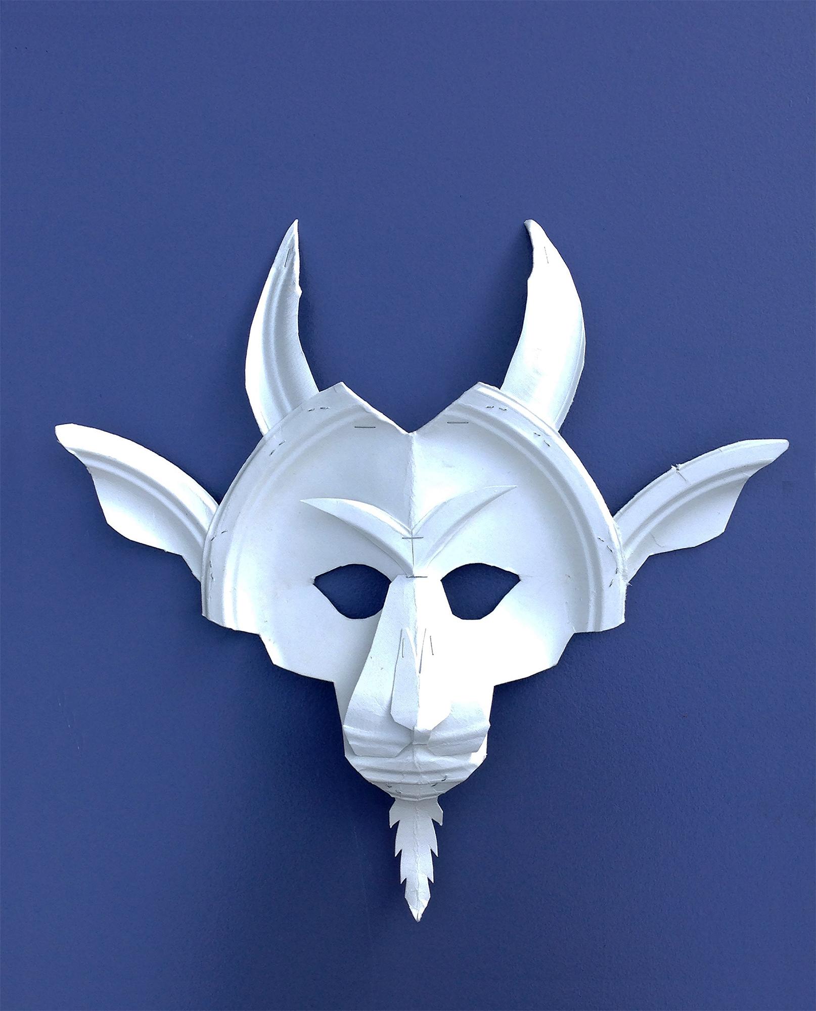 Goat Mask,  2013. Cut paper plate.