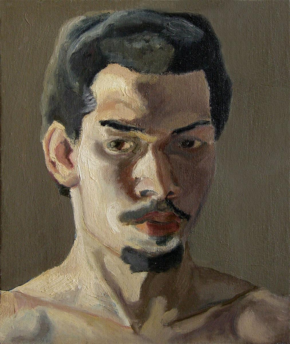 "Self Portrait, 1975 Oil on canvas. 12"" X 10"""