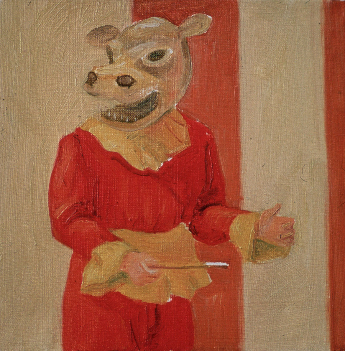 """Single Costumed Figure, 1977. Oil on canvas. 10"""" X 9"""". Private collection."""