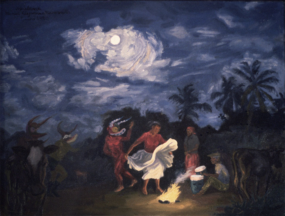 "Aquelarre (Witches' Sabbath),  1980. Oil on canvas. 18"" X 23 1/4"". Private collection."