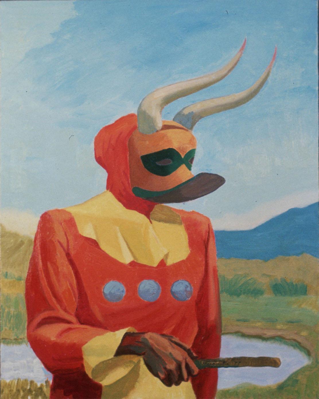 "Masked Figudre Study, 1977. Oil on canvas. 30"" X 24""."