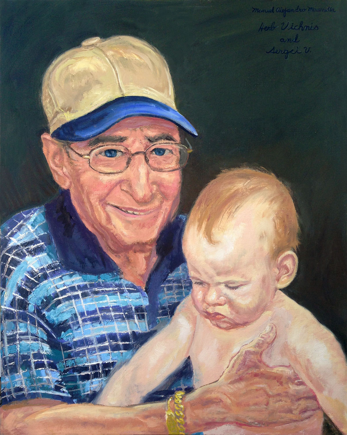 """Herb Vichnis and Sergei V., 2017 Oil on canvas, 30"""" X 24"""" Private collection"""
