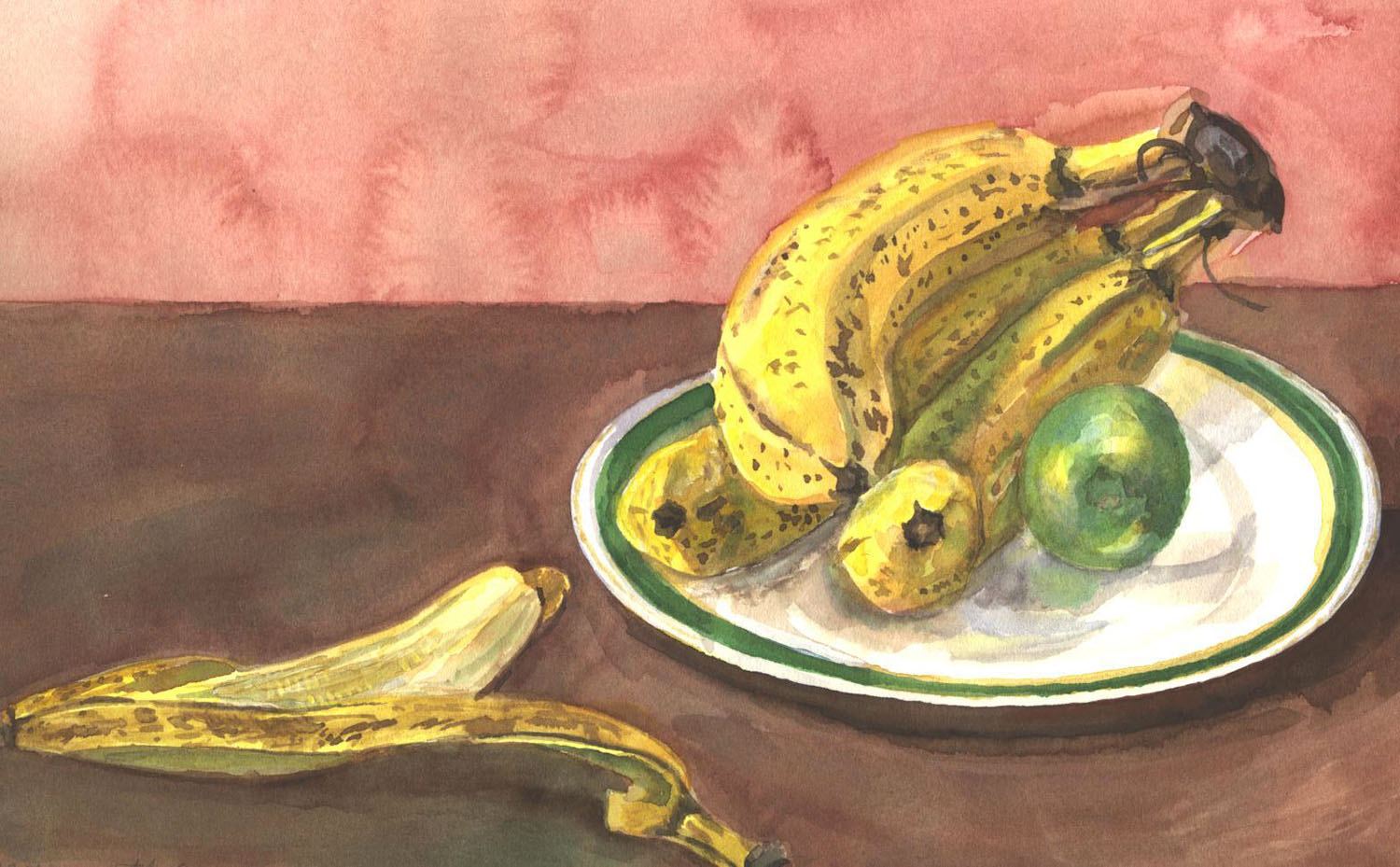 Still Life with Bananas and Lime,  1996 Water color