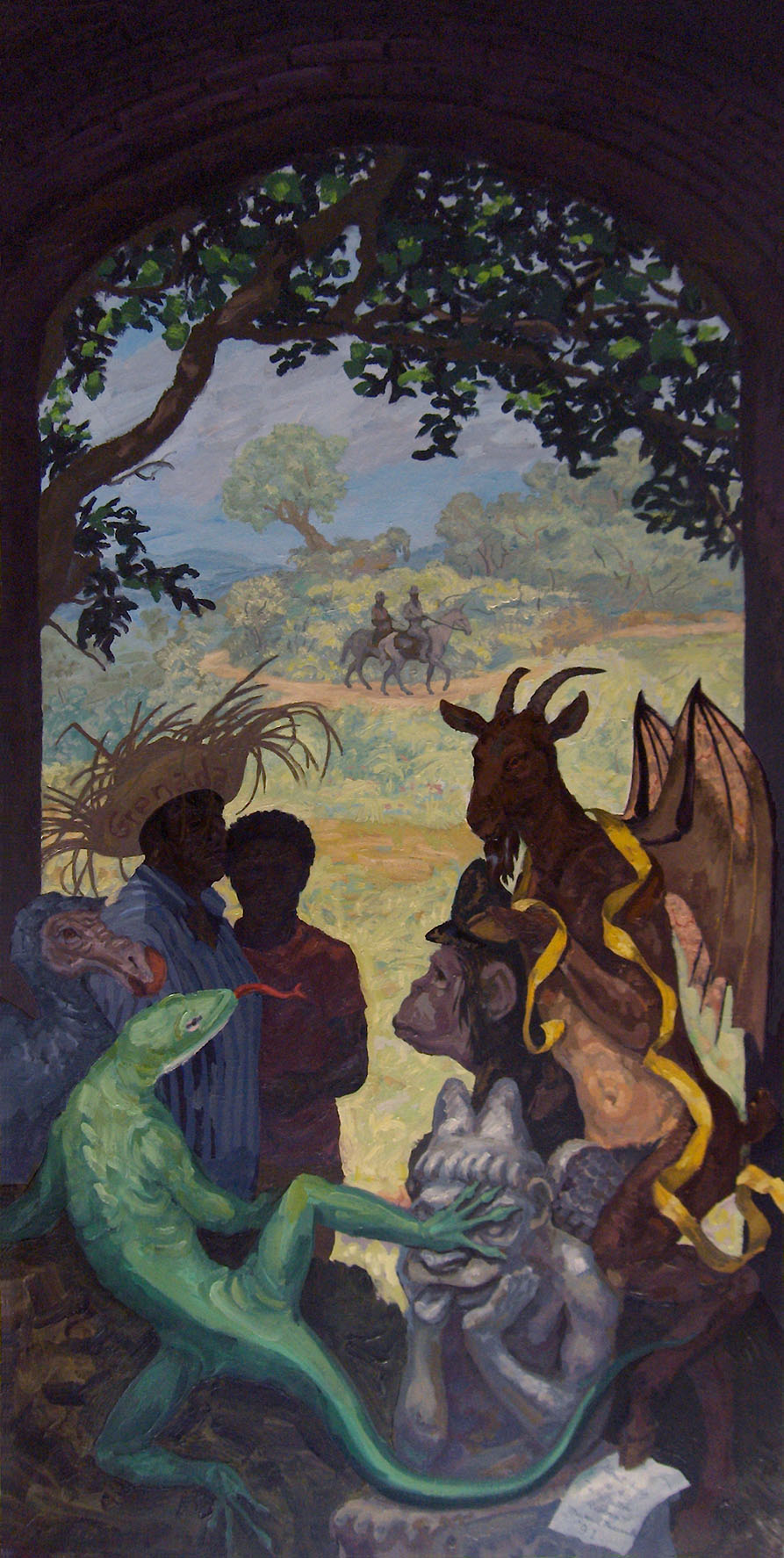 "Goat Song #4: Tie a Yellow Ribbon,  1991 Oil on linen. 96"" X 48""."
