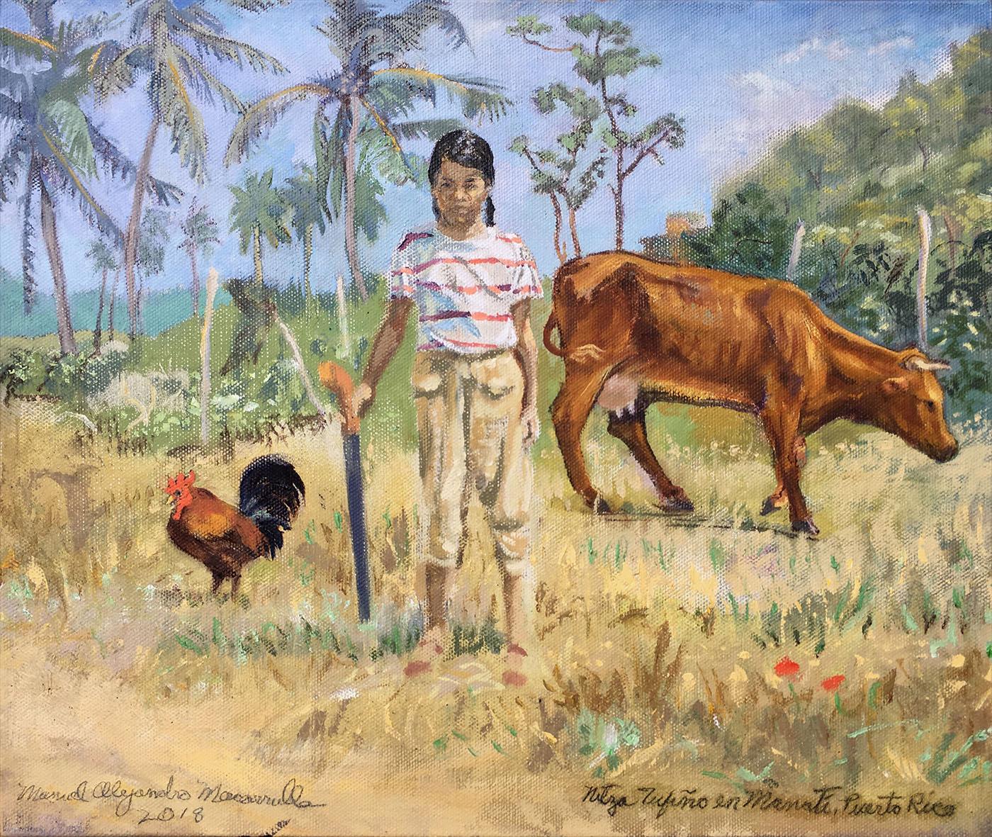 "Nitza Tufiño in Manatí, Puerto Rico,  2018 Oil on canvas. 11"" X 13"""
