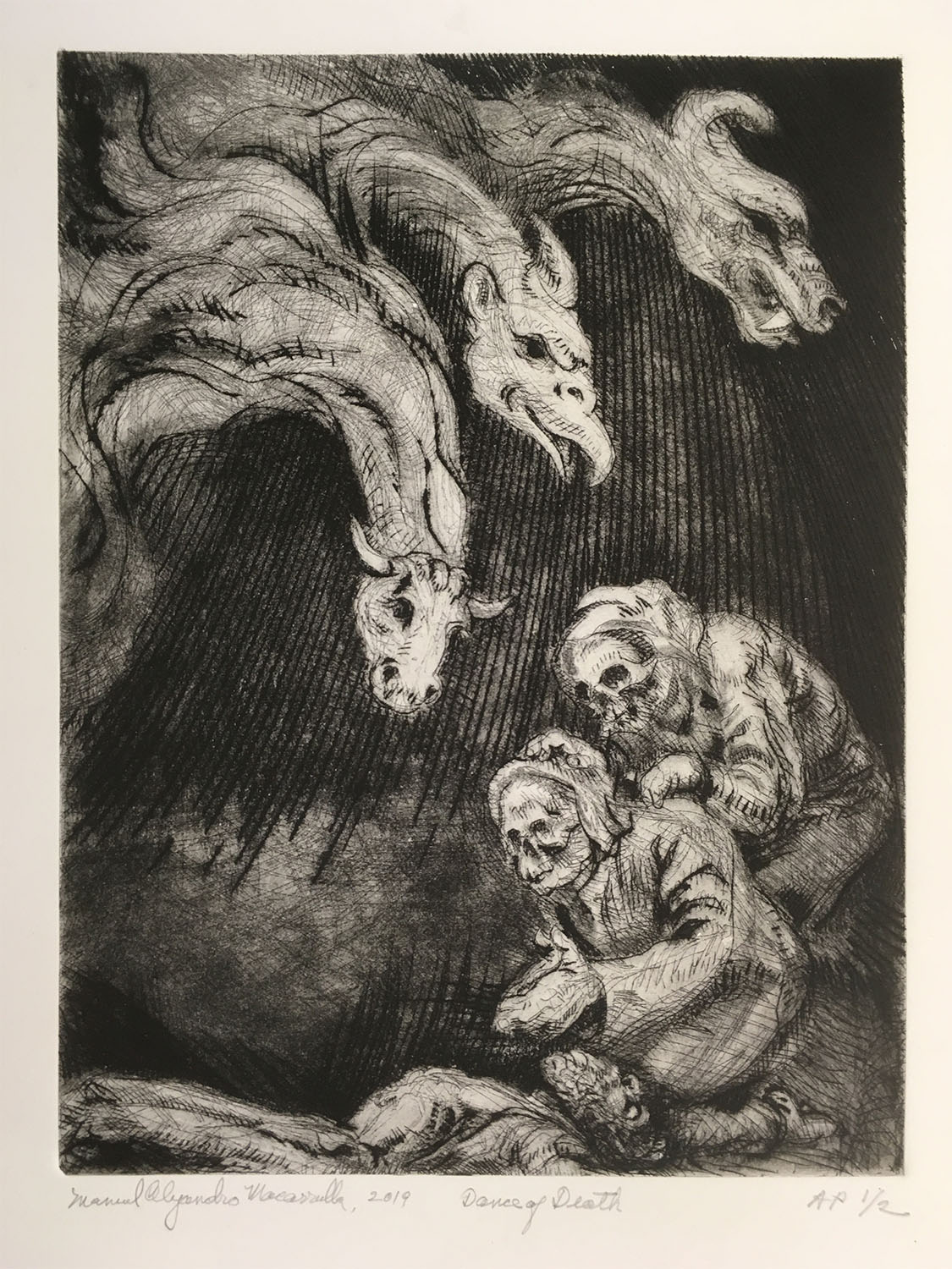 "Dance of Death,  2019 Etching with aquatint and drypoint 12"" X 9"""