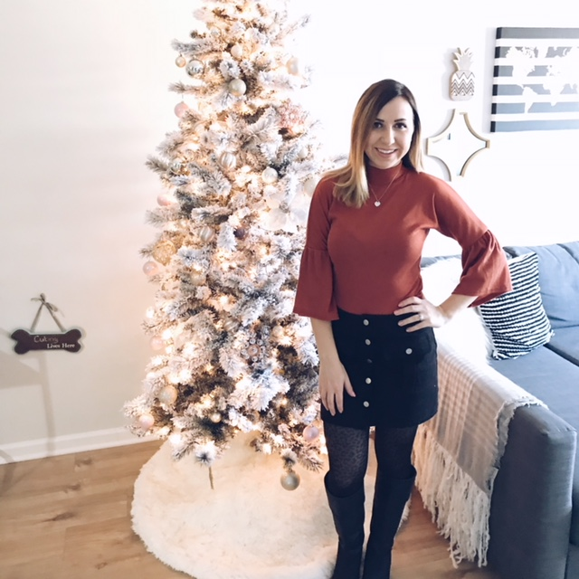 Thanksgiving 2017, this photo was taken at our home right before heading out to dinner with the family and sharing our big news! The skirt I'm wearing was actually way too big and Cody had to sew it tighter for me right before heading out. I bet right now this skirt would probably fit me perfectly if not a little bit snug! ( #eatingfortwo right? )