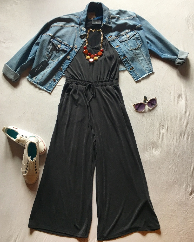 If you're as in love with the Liverpool Shredded Cropped Jean Jacket as we are, you can pick it up at Venue for $98. Throw on the shoes from the above picture and a statement necklace from your closet, and then top the look off with the Giselle sunglasses for $15.