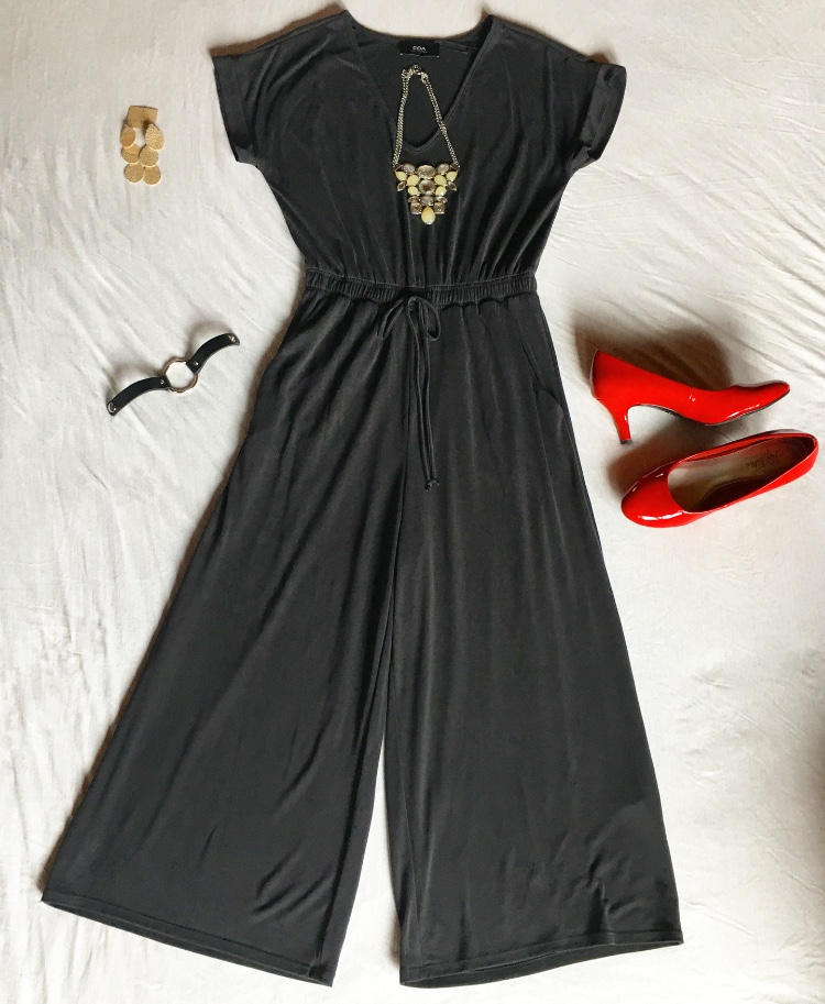 The nice thing about this jumpsuit is that it will go with any color heels you might have, so shoot for the stars! Then, you can accessorize with any chunky necklace on your jewelry stand, as well as the Cecelia Dangling Earrings and Leah & Luella Black Leather Bracelet (prices of these accessories are available in the store).
