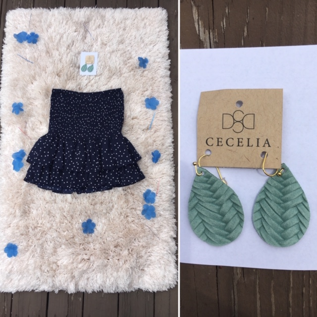 Pick up the BB Dakota Polka Dots Skirt/Shirt Nany for $68 and the Cecelia Blue Earrings for $25.