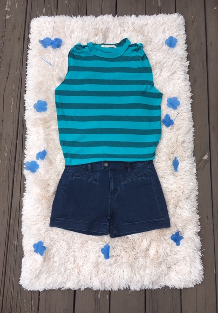 If you're ready to rock blue on blue on blue, pick up the Free People Twist Stripe Tank for $48 and the Liverpool Trouser Shorts for $59.