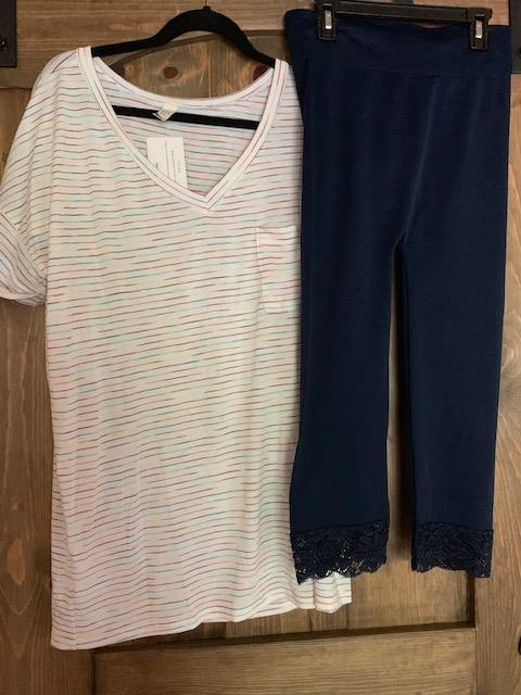 Even combined, the total price of the $32 Flamingo Rainbow Stripe Tee and the $18 Lace Bottom Capri Leggings is only $50. A pretty good price for a cute & comfy outfit!