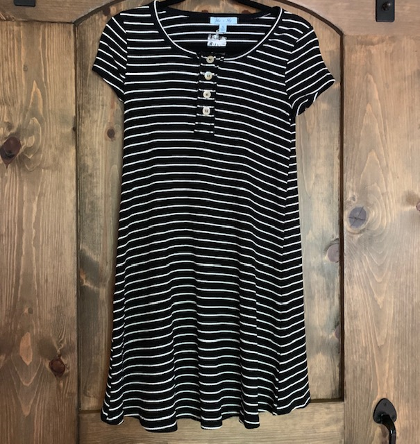 Can't go wrong with a classy black and white dress! Get the She + Sky Black Stripe Tee Dress for $32 at Venue.