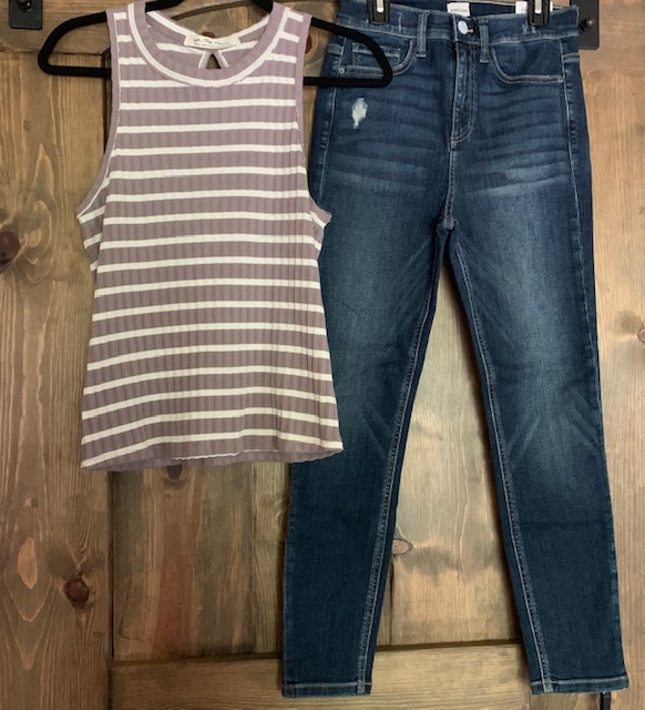 A perfect pair! Continue rocking the stripes trend with the Free People Lavender Stripe Tank for $48 and the Sneak Peak High Rise Crop Jeans for $49.