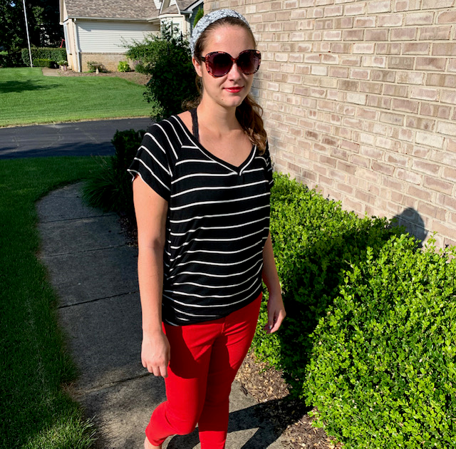 ❤️ Rockin' Red ❤️ Pick up the Liverpool Piper Ankle Skinny Red Pants at Venue for $96 and pair it with the $32 Hailey & Co. Black Stripe Tee to get a look that's totally Taylor.