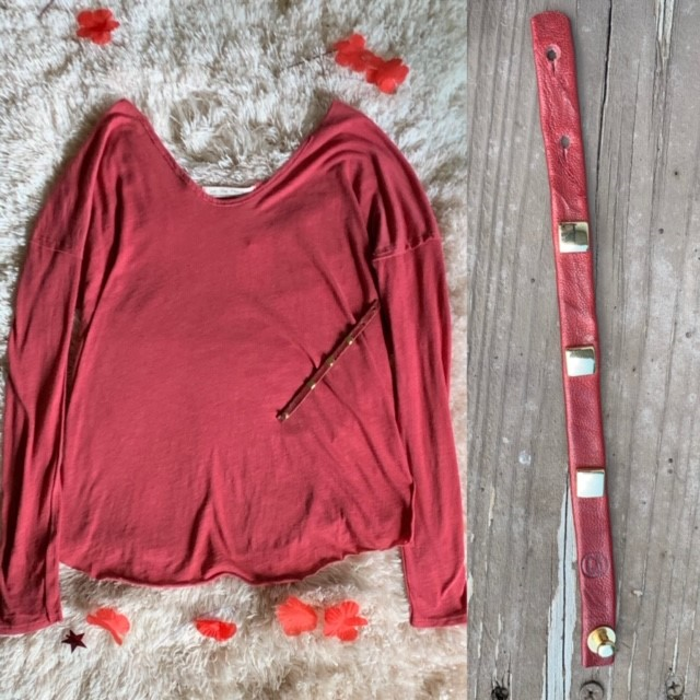 Ready to rock some red? Grab the bracelet and the $58 Free People Rose Button Sleeve top from Venue next time you stop by.