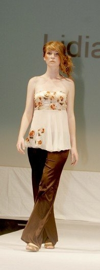 Strapless sheer top and satin brown slacks. Satin floral print polyester and chiffon fabrics on shirt. Flower applique on chiffon.
