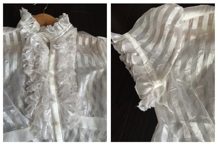 Semi-sheer polyester fabric. Darts on back for perfect fit.Ruffles along neckline, front centre panels, and sleeves., gathered at chest area. Bottom side panels sewn at a diagonal for visual interest.