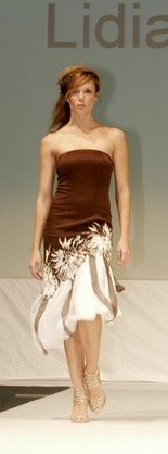 Brown and white strapless dress.