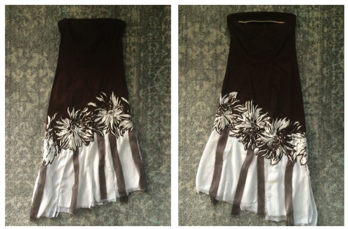 Brown stretchy cotton, white crepe chiffon, and brown chiffon fabrics. Flowers cut from a complimentary fabric and sewn on a diagonal above hemline. White crepe chiffon panels and brown chiffon accents loosely flow around the knee.