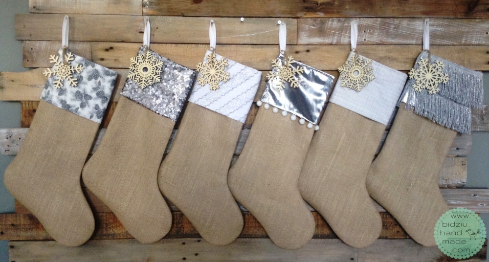 custom made Christmas stockings, handmade Christmas stockings, burlap Christmas stockings, modern Christmas stockings, rustic Christmas stockings, gray, silver, and white Christmas stockings, personalized Christmas stockings, modern Christmas decor, rustic Christmas decor, mantel Christmas decoration,