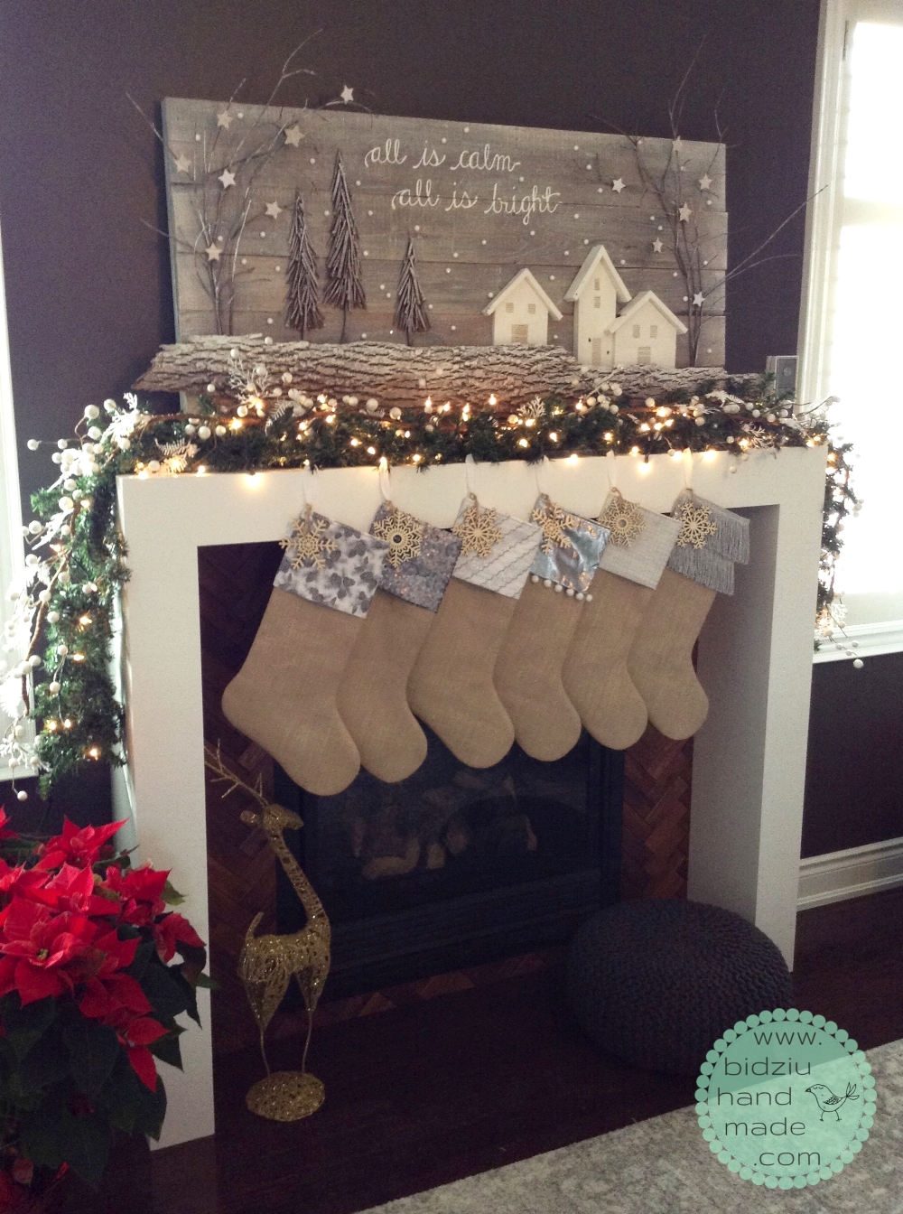 DIY modern Christmas stockings, burlap stockings, burlap white silver Christmas stockings, custom made stockings, modern Christmas stockings, chic Christmas stockings, rustic Christmas stockings, bidziu handmade, bidziuhandmade