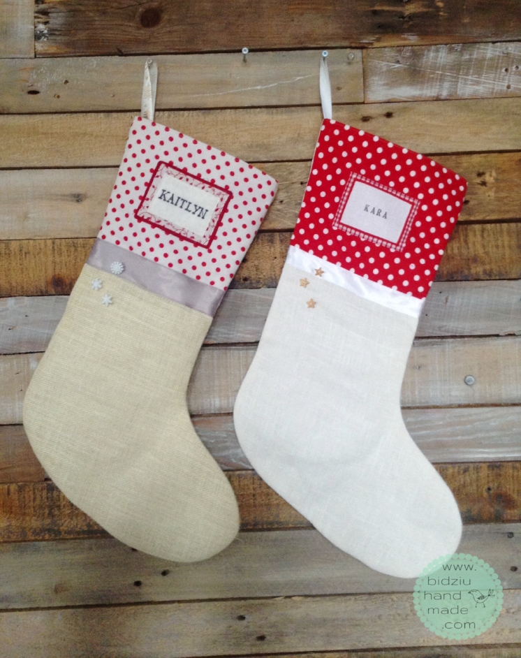 New stocking (left) custom made to match an existing stocking (on the right).