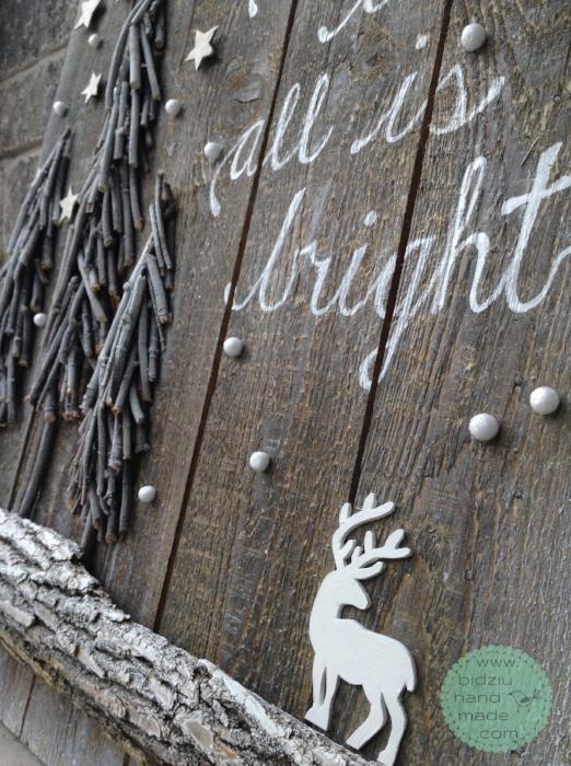 handmade rustic Christmas decoration, rustic Christmas decor ideas, reclaimed pallet wood project, pallet wood DIY, white Christmas decoration, fireplace mantel Christmas decor, Christmas centrepiece ideas, rustic centre piece,