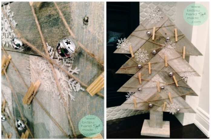handmade rustic Christmas decoration, Christmas card holder, rustic handmade Christmas card holder, merry mail holder, reclaimed pallet wood project, reclaimed pallet wood project idea, handmade pallet wood project,