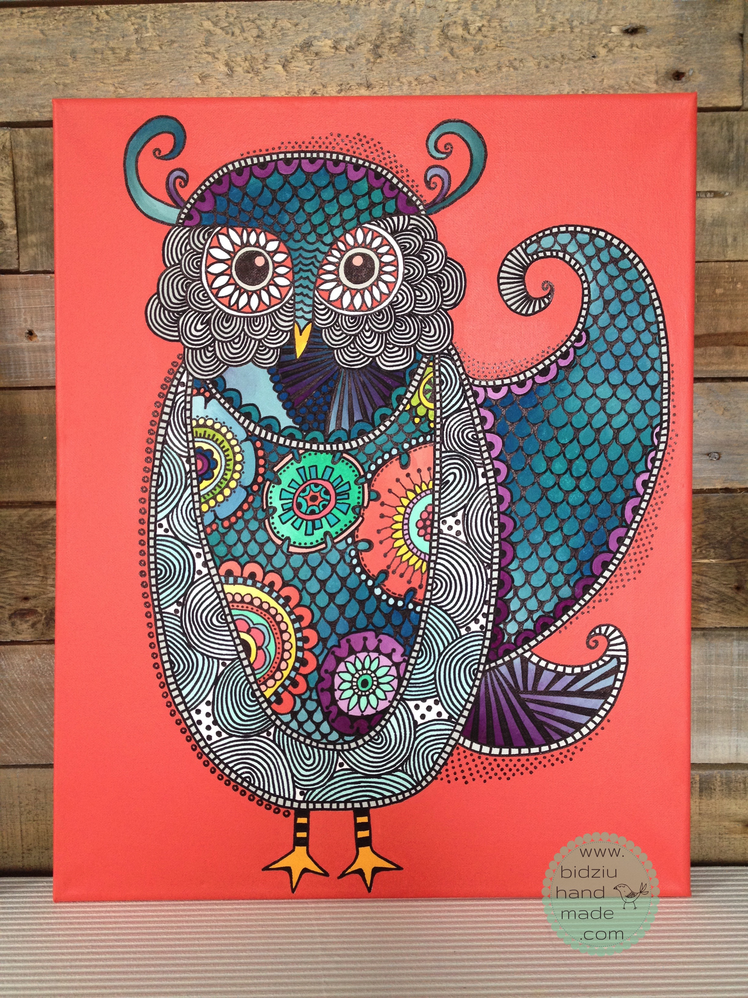 zentangle art, DIY zentangle art, zentangle drawing, colourful art, hand painted owl, DIY colourful art, colourful owl painting, owl painting, zentangle owl painting, handmade room decoration, hand painted room decoration, decoration for little girls room, coral painting, light blue painting, owl painting, DIY owl painting, bidziu handmade, bidziu hand made, unique art ideas