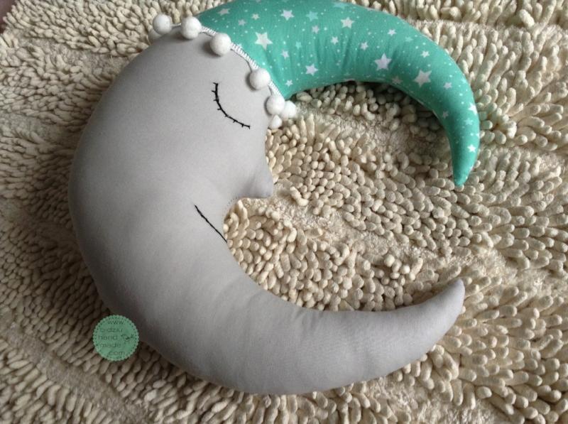 moon and star pillows, mint gray and pink nursery, mint and pink pillows, handmade nursery pillows, modern nursery pillows, modern moon and star pillows, modern nursery decor, trendy nursery decor, moon and star decor, hand embroidered pillows, bidziu handmade, bidziu hand made