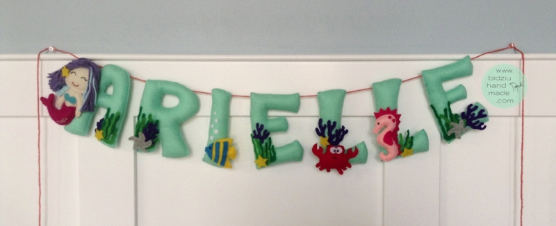 personalized name banner, felt name banner, mermaid theme name banner, customized name banner, handmade name banner, mermaid room decor, trendy mermaid room decor, trendy room decor, modern room decor, customized room decoration, trendy room decoration, ocean theme name banner, modern baby nursery, modern kids' room, handmade room decoration, mint room decoration, turquoise room decoration, mint room decor, turquoise room decor, bidziu handmade bidziu hand made