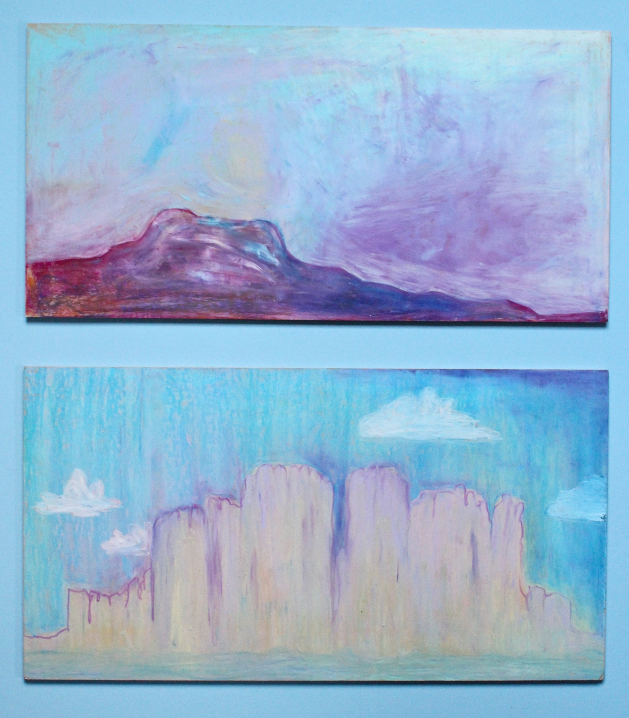 Abstract Mountainscape Diptych