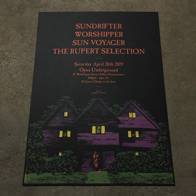 4 color water based, hand pulled posters from this past weekend for @sundrifterbc . Artwork by @branca_studio #sundrifterbc #brancastudio #unionscreenprinting #screenprinting
