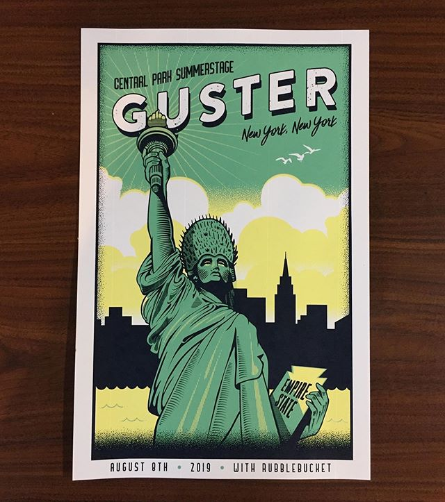 Three color posters for @guster . Would be great to print more gig posters. Hit us up for a quote!  #guster #unionscreenprinting