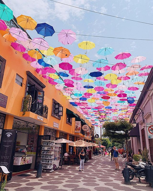 "Last week, this street was empty. This week, I can run down it like RiRi and sing ""Umbrella."" Mexico, you keep surprising me! 🇲🇽 ☔️"