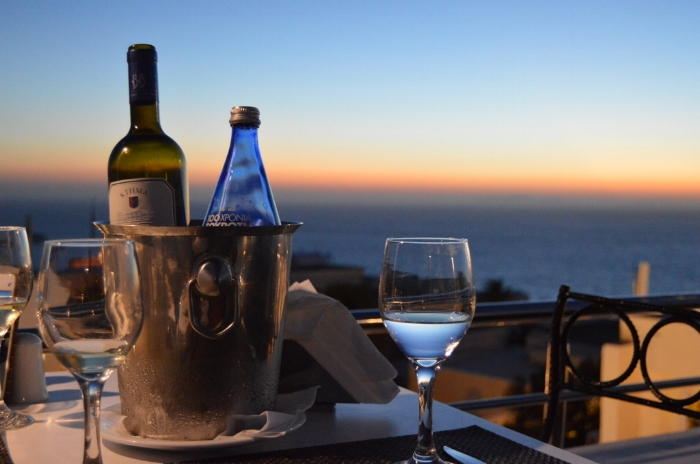 Keeping up my wine habit on the island of Santorini...