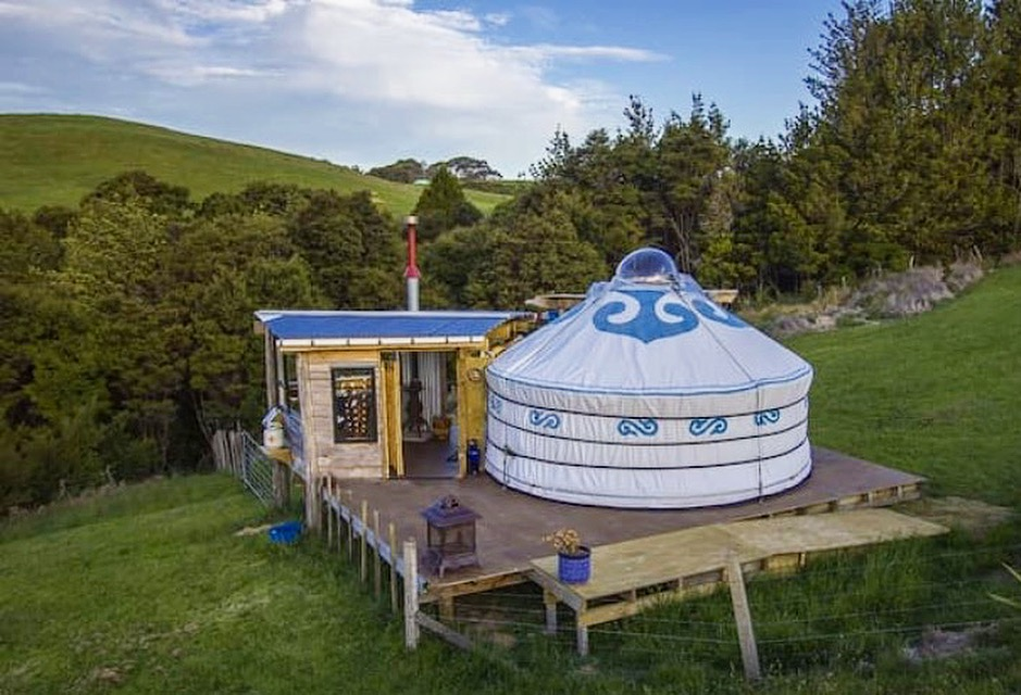 "I spent a few days ""off grid"" in this yurt in New Zealand. Only downside? Waking up at dawn to the sounds of sheep and roosters!"