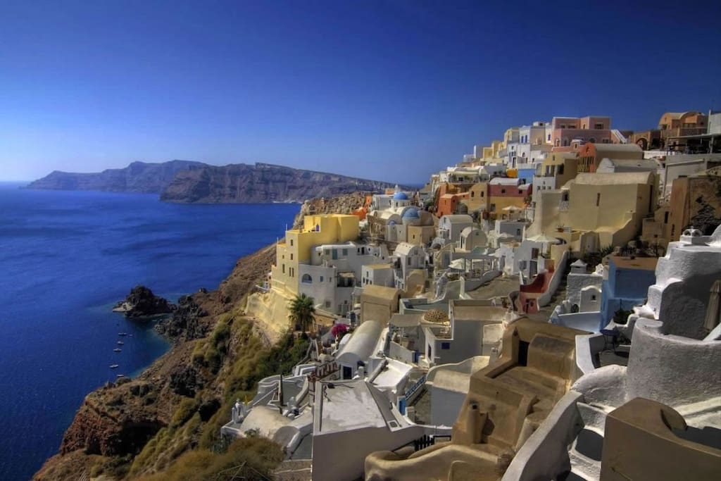 You can't beat this view from a cave house on the caldera in Santorini, Greece.
